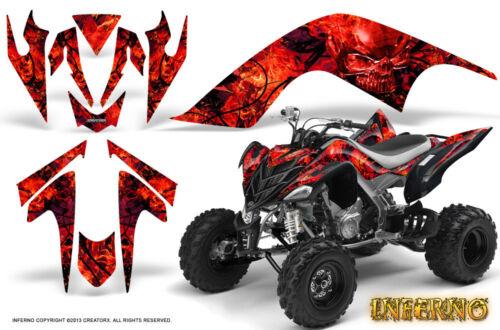 YAMAHA RAPTOR 700 06-12 GRAPHICS KIT CREATORX DECALS INFERNO RED BLACK