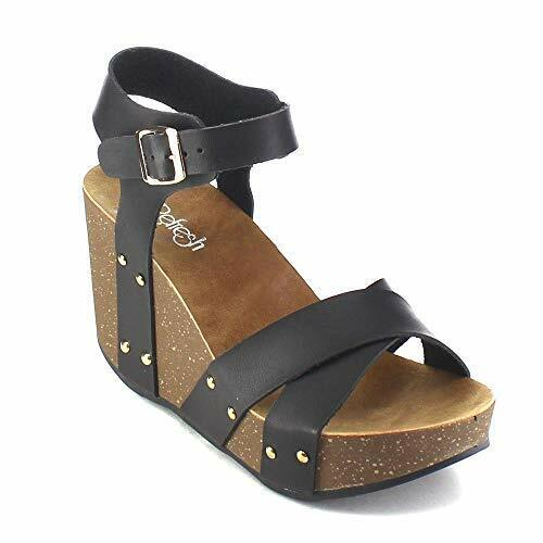 Refresh Mara-05 Ankle Strap Comfort Criss Cross Platform Wedge Sandals Black