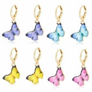 Charm-Women-039-s-Butterfly-Enamel-Ear-Hoop-Earrings-Drop-Dangle-Jewelry-Gift-Hot