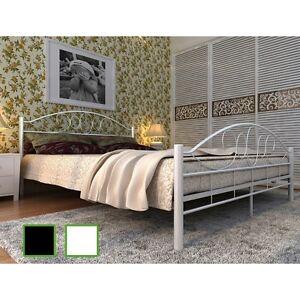 metallbett doppellbett bett schwarz wei metall mit lattenrost matratze ebay. Black Bedroom Furniture Sets. Home Design Ideas