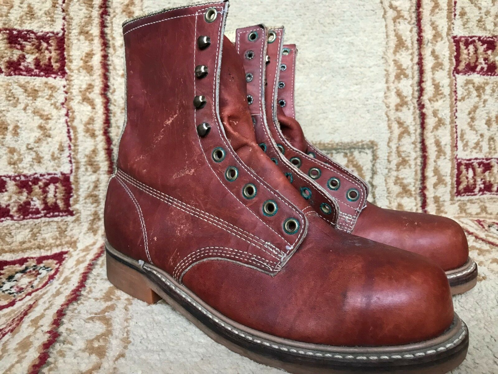 Vintage IRON Toe AGE Braun Leder Steel Toe IRON Work Stiefel  Uomo Größe 7.5 E Made in USA a127ca