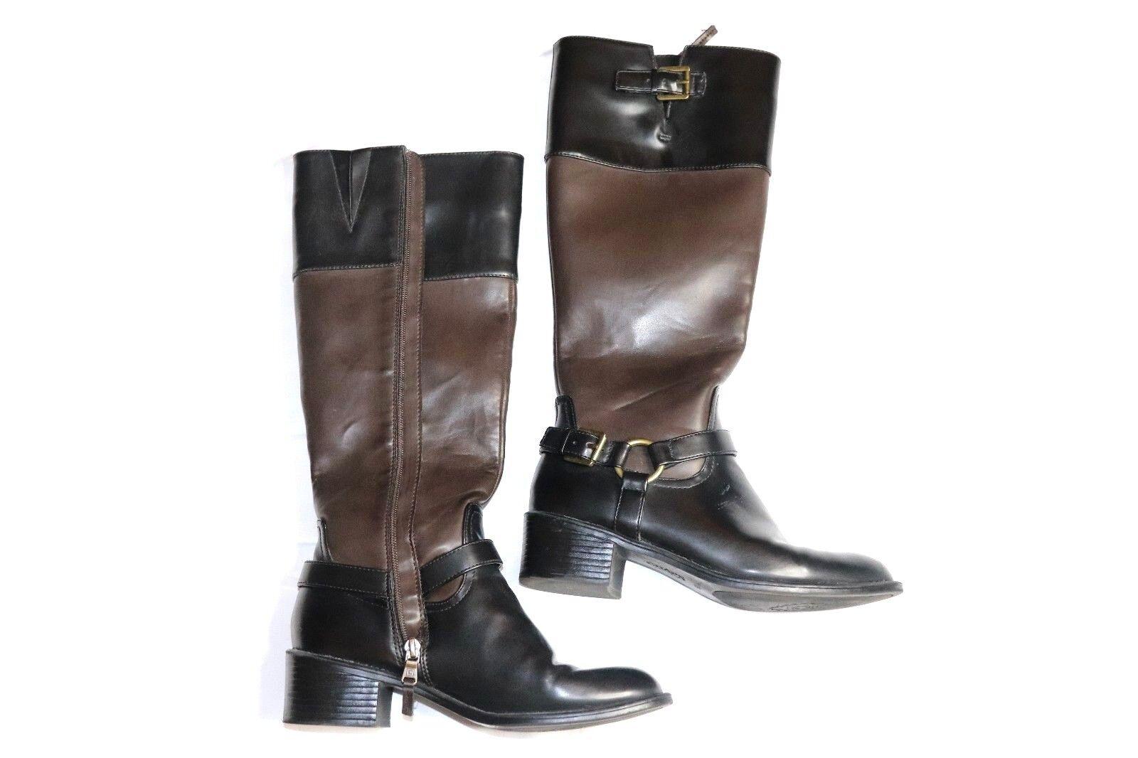 Ralph Lauren Chaps Womens Knee Boots High Brown/Black Buckle Leatherette Boots Knee 7.5 B 820048