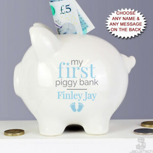 Personalised My First Piggy Bank Baby Boys Gift Blue