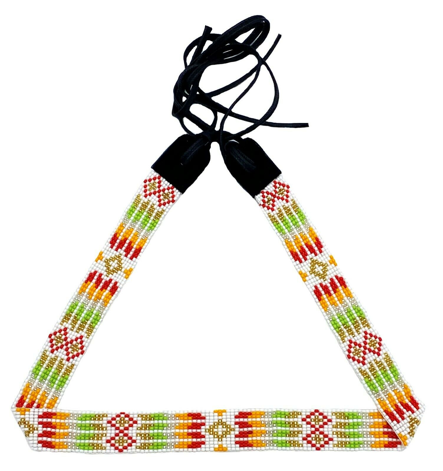 Handmade Beaded Native Style White Multi-Color Beadwork Cowboy Hatband H55/5