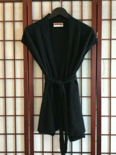 VELVET 100% CASHMERE SLEEVELESS CARDIGAN WITH BELT