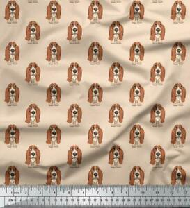 Soimoi-Basset-Hound-Dog-Cotton-Fabric-Sewing-Materials-By-The-Mtr-58-Inches-Wide