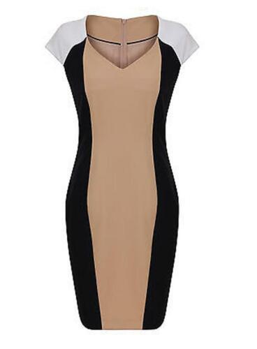 Brand New Ex Dorothy Perkins V Neck Capped Sleeve Block Panel Dress