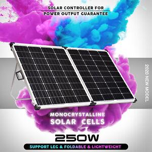 12V-250W-Folding-Solar-Panel-Kit-Mono-Camping-Caravan-USB-Controller-Charging