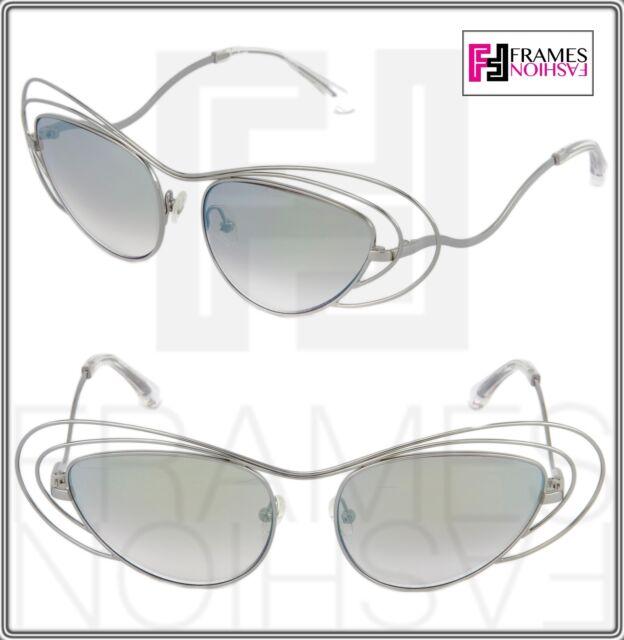 3a06ad144b8 Linda Farrow Erdem Cat Eye Wire Silver Purple Green Mirrored Edm2 Sunglasses