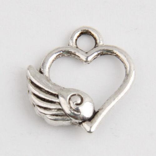 60 Heart Tibetan Silver Charms Pendants Jewelry Making Findings EIF0666