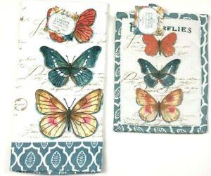 KayDee-Designs-Kitchen-Terry-Dish-Towel-and-Potholder-Set-Cotton-Butterflies