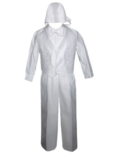 New White Infant Boy Toddler Baby Christening Baptism Outfit Set XS-4T 0M-4Yr