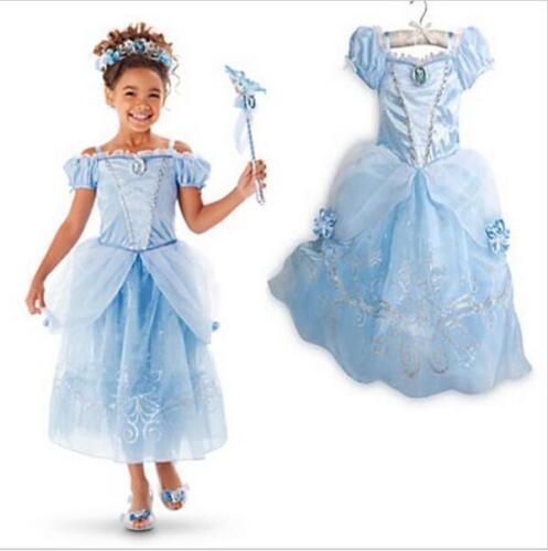 Kids Girl Aurora Sandy Rapunzel Belle Princess Party Fancy Dress Up Costume gift