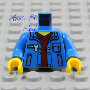 NEW-Lego-BLUE-MINIFIG-TORSO-Boy-Girl-Dark-Polo-Red-Shirt-Pocket-Jacket-Sweat-Top