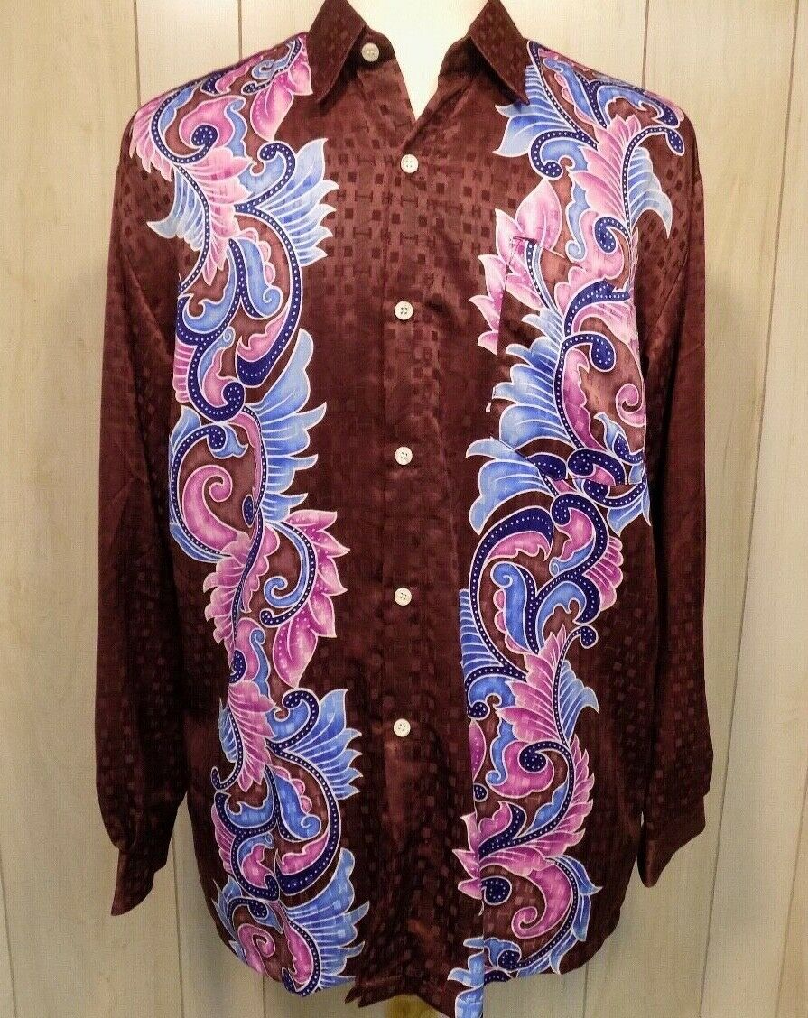 Retro Disco Night Club Polyester Mens Long Sleeve Collar Shirt XL  Burgundy
