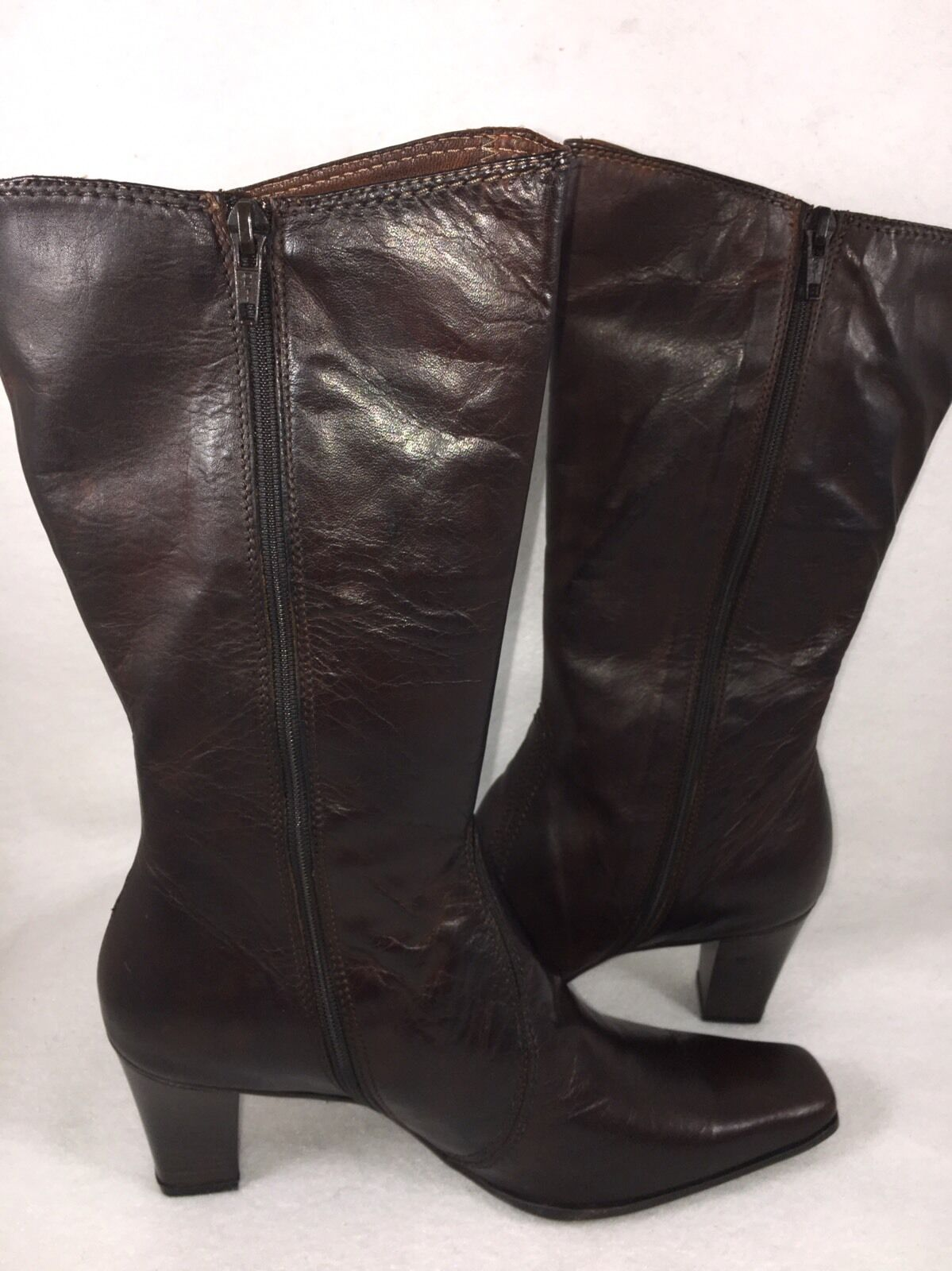 Sesto Meucci Valen Stained Calf Boots 9 N AA AA AA Brown Dark Tan Leather mid calf 16ec60