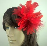 bright red feather fascinator hair clip headpiece wedding party fancy dress