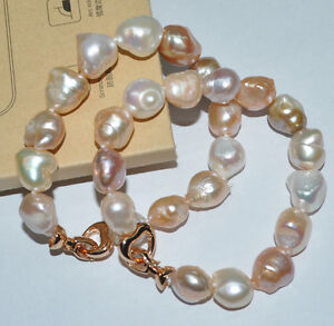 11mm-similar-Baroque-natural-color-pearl-Bracelets-Free-shipping