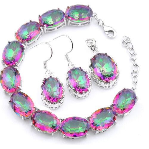 Mother/'s Day Bijoux Set Rainbow Mystic Topaz Bracelet En Argent Pendentif Boucles D/'oreilles