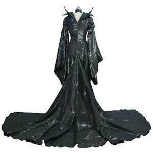 Movie Maleficent Cosplay Costume Halloween Maleficent Black Dress Cos Costumes