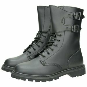 Mil-Tec-French-Buckle-Boots-Tactical-Military-Combat-Work-Leather-Black