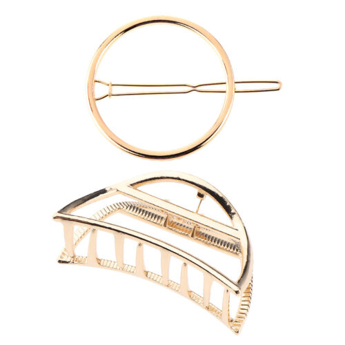 2//pack Gold Metal Hair Claw Clip /& Round Hairpins Accessories for Women Girl