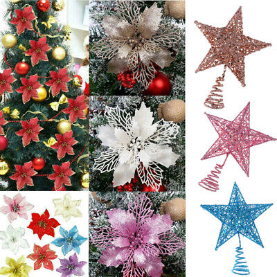 10X Christmas Large 9//15cm Poinsettia Glitter Flower Tree Hanging Party Decor