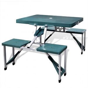 Set Tavolo Tavolino Pieghevole Pic Nic Campeggio Alluminio Con 4 Sgabelli Verde