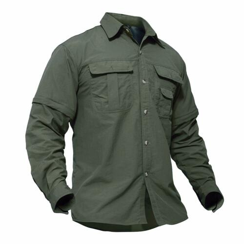 Tacvasen Men/'S Breathable Quick Dry Uv Protection Solid Convertible Long Sleeve