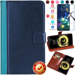 Pour-LG-V50-S-G8-X-G7-ThinQ-G6-Portefeuille-Cuir-Carte-Flip-Stand-Case-Verre-Trempe