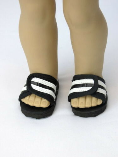"18/"" Doll Shoes Black White Athletic Slides for Boy//Girl Doll Sporty Sandals"