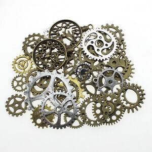 100g Gear Charms Steampunk Wheel Charms Pendant for DIY Jewelry Making 1-3cm