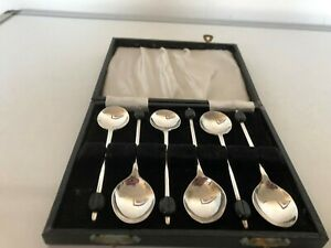 6-SILVER-PLATED-COFFEE-BEAN-SPOONS-IN-A-BLACK-FAUX-FITTED-CASE-4-034-SPCBS-80EE