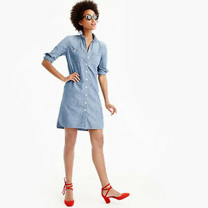e4d42122346 Details about New J Crew Womens Petite Denim Long-sleeve Chambray Shirtdress  X-Small G1260