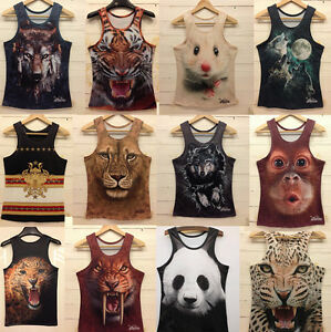 Rock-Band-Mens-Casual-3D-Animal-Printing-Sleeveless-Shirt-Singlet-Tank-Vest-Tops