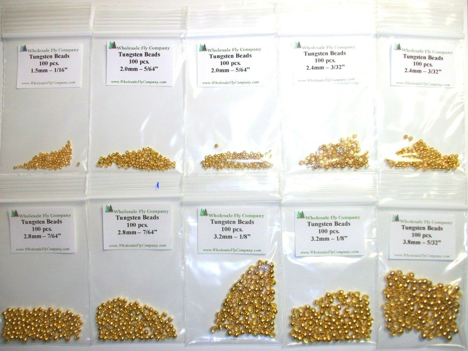 1000 gold Tungsten Fly Tying Beads Assorted Sizes A