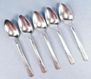 5-Grenoble-Silverplate-Teaspoons-Heirloom-Plate-Prestige-1938-Flatware-Teaspoon