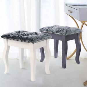Crushed Velvet Vanity Dressing Table Stool Chair Makeup Stools Seat Wooden Legs