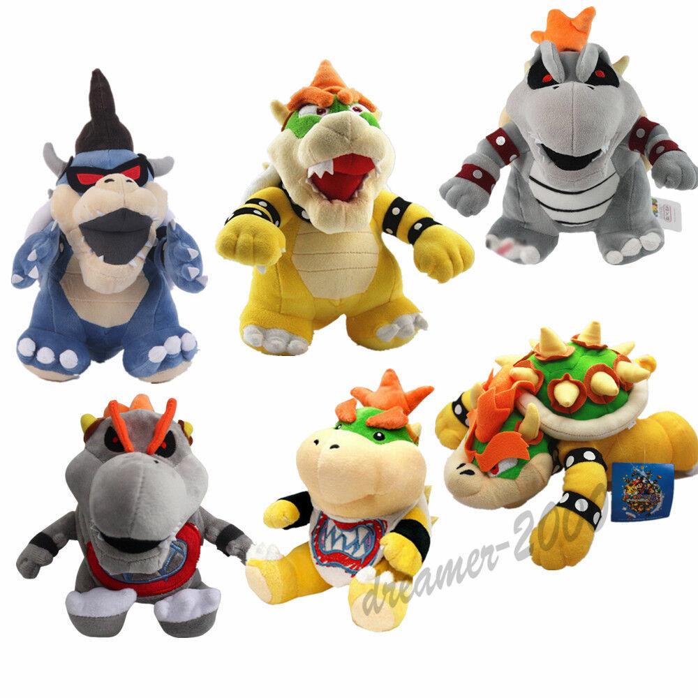 6pcs Super Mario Bros King Dark Bowser Jr. Dry Bones Bowser Koopa Plush Doll Toy