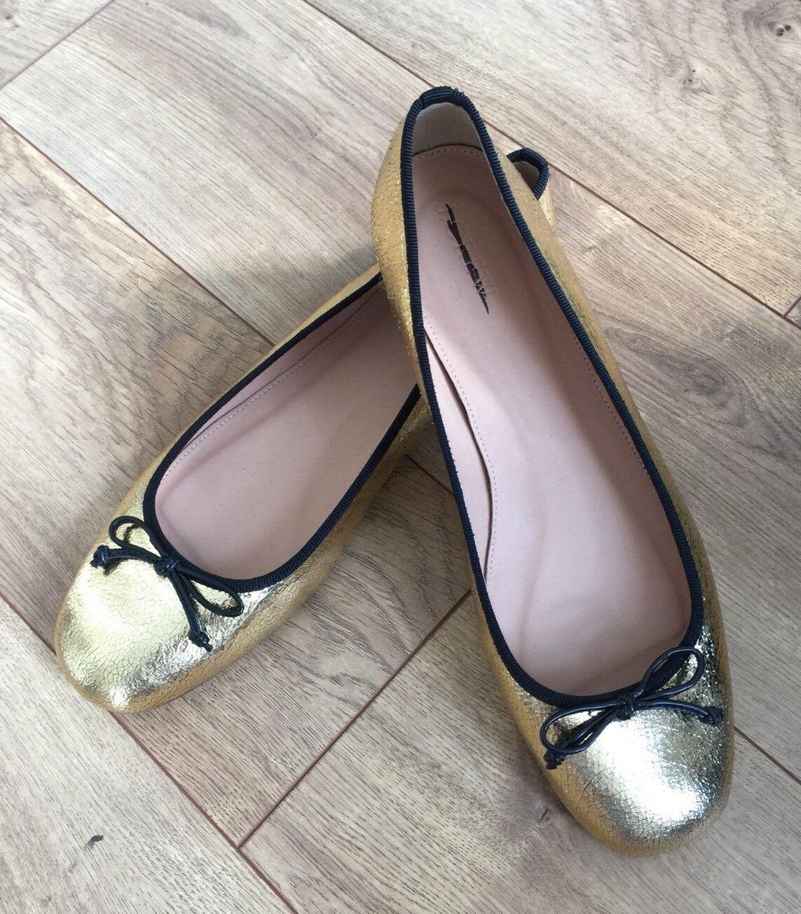 Nuevo Ballet En Caja Jcrew  138 Lily Ballet Nuevo Zapatos sin Taco Sin En Craquelado Cuero Tamaño 10 oro Negro G7845 a716c5