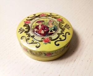 lata pastillero vintage de lata inglés con relieves