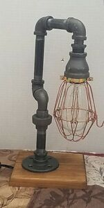 Retro Industrial Pipe steampunk style Lamp with Cage