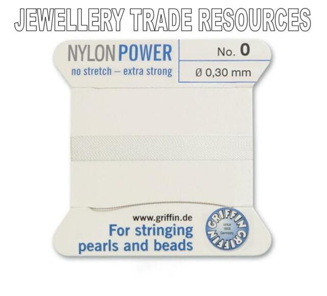 BEIGE NYLON POWER SILKY THREAD 0.60mm STRINGING PEARLS /& BEADS GRIFFIN 4
