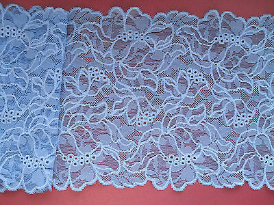 Pretty Vintage Mid Blue Stretch French Lace 17cm  Lingerie Table Runner Costume
