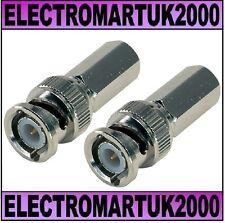 2 X BNC PLUG ADAPTOR CONNECTOR SCREW FIT TWIST ON RG58 RG59 CCTV
