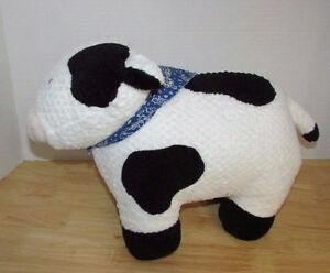 Details About Large Plush Cow Firm Textured Blue Bandana Standing Stuffed Animal Black White