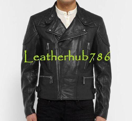 de hombres Biker de mano piel hechos Chaqueta Slim cordero 101 de Fit negro a motocicleta los Outwear qEdpwx8