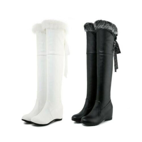 Details about  /Womens Furry Trim Top Over The Knee High Boots Warm Casual Snow Outdoor Shoes D