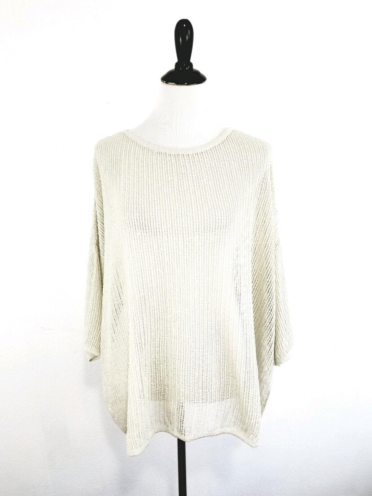 M MISSONI Women's Popover Oversized Metallic Open Knit Sweater Ivory Size Medium