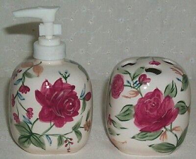 Longaberger Soap Dispenser and Toothbrush Holder in Heirloom Floral